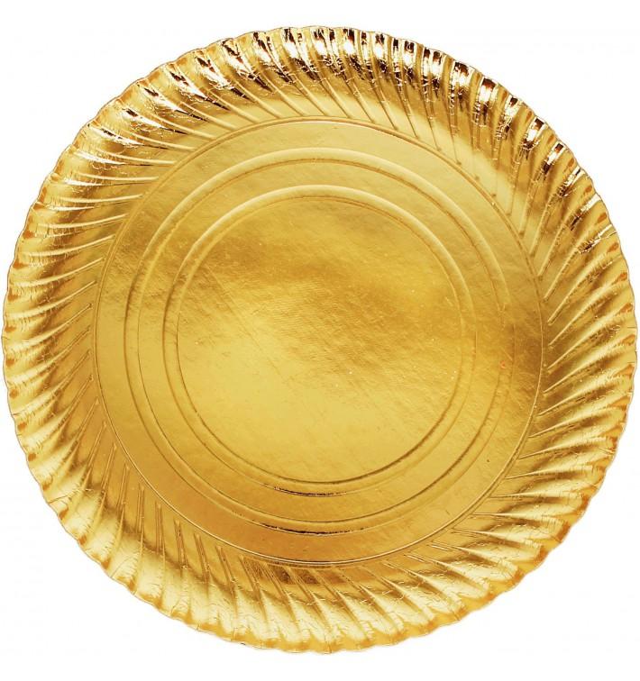 Piatto di Carta Oro Tondo 300 mm (400 Pezzi)