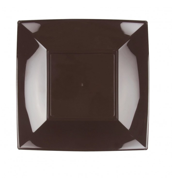 Piatto Plastica Piano Marrone Nice PP 230mm (300 Pezzi)