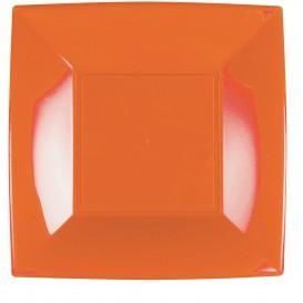 Piatto Plastica Piano Arancione Nice PP 290mm (12 Pezzi)