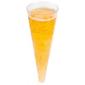 Calice di Plastica Cono a Champagne Tras. 100ml (24 Pezzi)