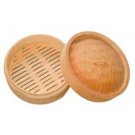 Cestello Cottura a Vapore Bambù con Coperchio Ø8x6cm (10 Pezzi)