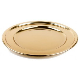 Piatto di Plastica Catering Tondo Oro 30 cm (50 Pezzi)