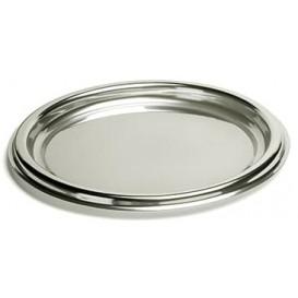 Vassoio di Plastica Rotondo Argento 30 cm (5 Pezzi)