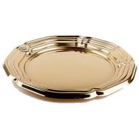 Vassoio di Plastica Catering Rotondo Oro 46 cm (5 Pezzi)