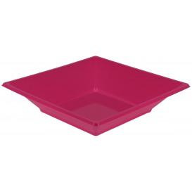 Piatto Plastica Fondo Quadrato Fucsia 170mm (5 Pezzi)