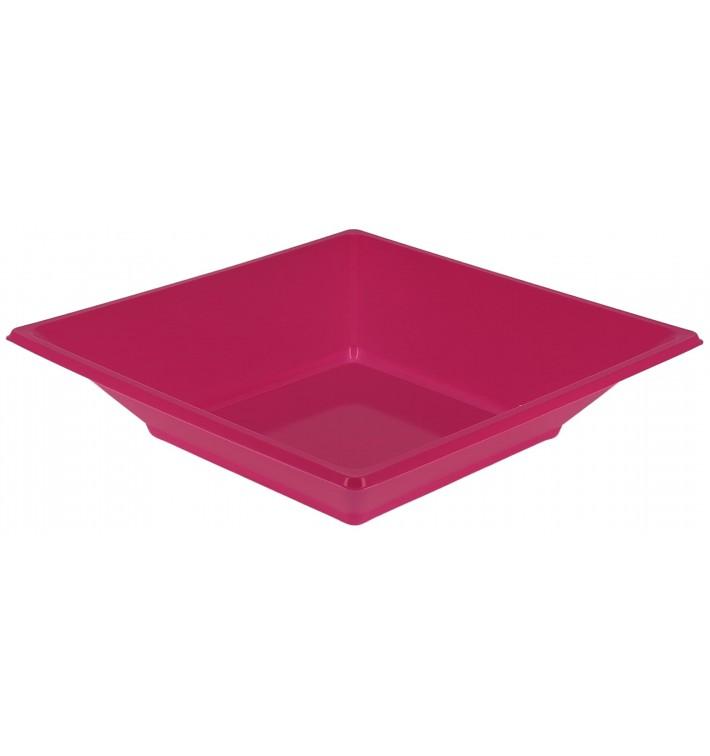 Piatto Plastica Fondo Quadrato Fucsia 170mm (25 Pezzi)