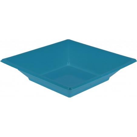 Piatto Plastica Fondo Quadrato Turchese 170mm (25 Pezzi)