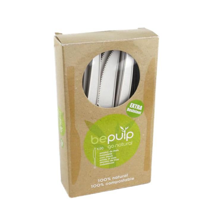 Coltello Bio CPLA Bianco 160mm imballaggio (50 Pezzi)