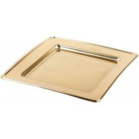 Piatto di Plastica PET Quadrato Oro 18cm (6 Pezzi)