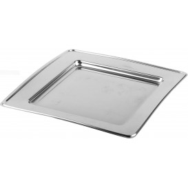 Piatto di Plastica PET Quadrato Argento 18cm (180 Pezzi)
