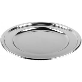 Piatto di Plastica PET Tondo Argento Ø18,5cm (6 Pezzi)