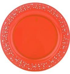 """Piatto Plastica Tondo Rigida """"Lace"""" Arancione 19cm (4 Pezzi)"""