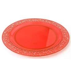 """Piatto Plastica Tondo Rigida """"Lace"""" Arancione 19cm (88 Pezzi)"""