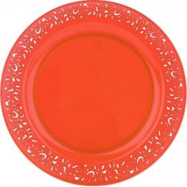 """Piatto Plastica Tondo Rigida """"Lace"""" Arancione 23cm (4 Pezzi)"""