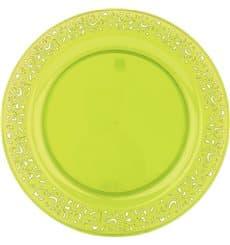 """Piatto Plastica Tondo Rigida """"Lace"""" Verde 19cm (4 Pezzi)"""