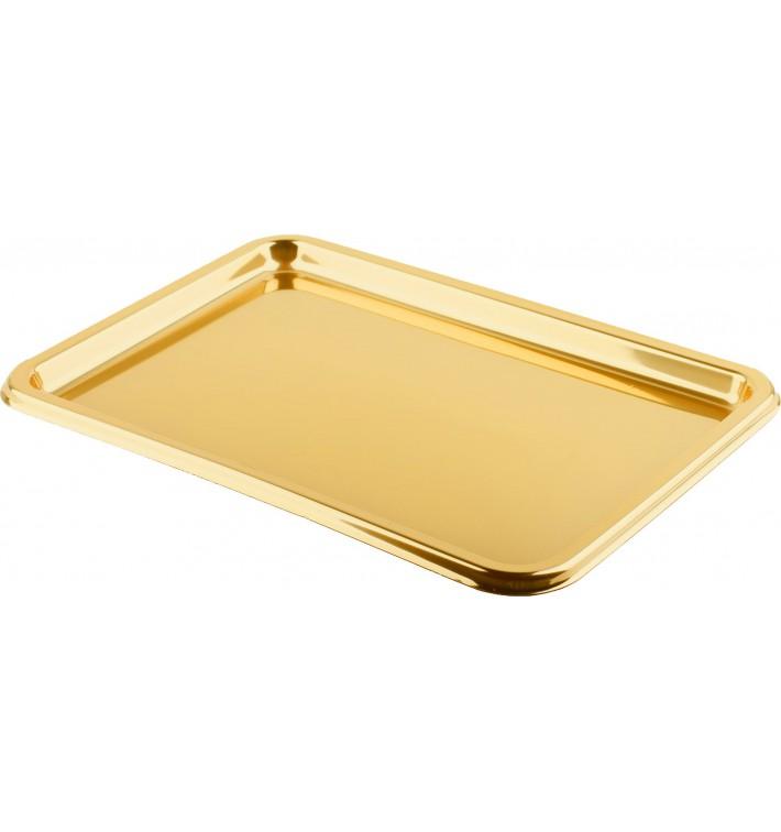 Vassoio Plastica Rettangolare Oro 35X24 cm (5 Pezzi)