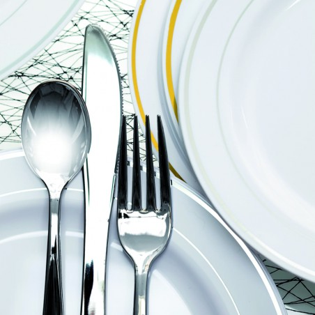 Forchetta di Plastica Metallo 190mm (500 Pezzi)