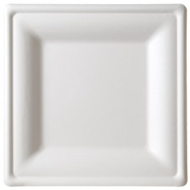 Piatto Quadrato Bianco Canna Zucchero 20x20cm (25 Pezzi)