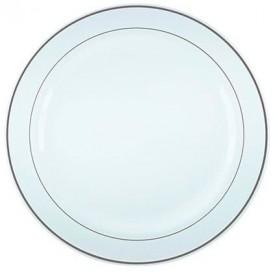 Piatto Plastica Rigida con Bordo Argento 26cm (90 Pezzi)