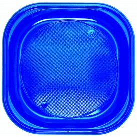 Piatto di Plastica PS Piazza Piano Blu Scuro 200x200mm (30 Pezzi)