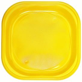 Piatto di Plastica PS Piazza Piano Giallo 200x200mm (30 Pezzi)