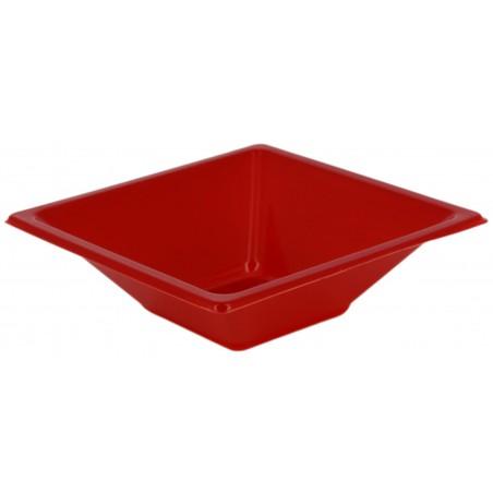 Ciotola Plastica PS Quadrato Rosso 12x12cm (12 Pezzi)