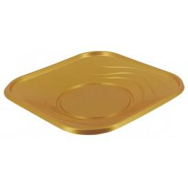 """Piatto di Plastica PP """"X-Table"""" Piazza Piano Oro 180mm (8 Pezzi)"""