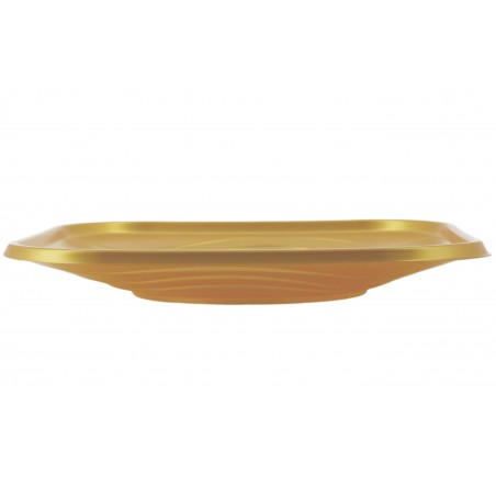 """Piatto di Plastica PP """"X-Table"""" Piazza Piano Oro 230mm (120 Pezzi)"""