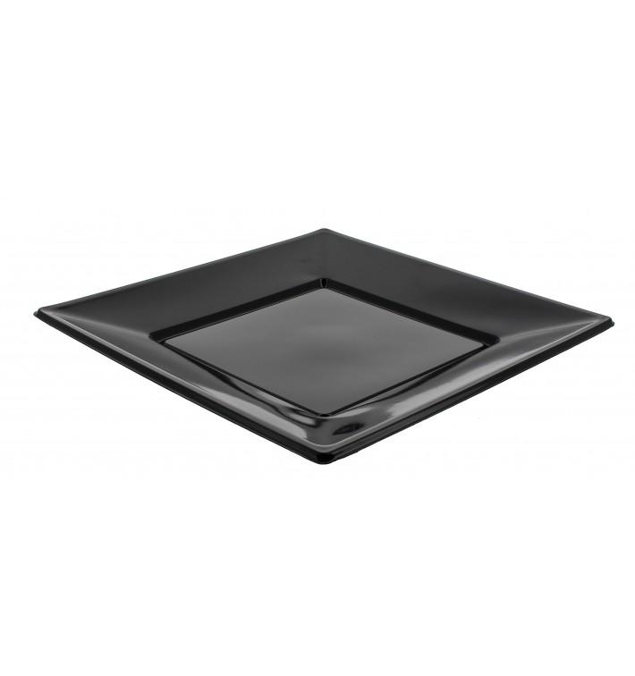 Piatto di Plastica Piano Quadrato Nero 230mm (750 Pezzi)