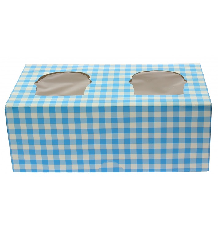 Scatola 2 Cupcakes con Inserto 19,5x10x7,5cm Blu (160 Pezzi)