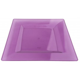 Piatto Plastica Rigida Quadrato Melanzana 20x20cm (4 Pezzi)