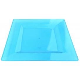 Piatto Plastica Rigida Quadrato Turchese 20x20cm (4 Pezzi)
