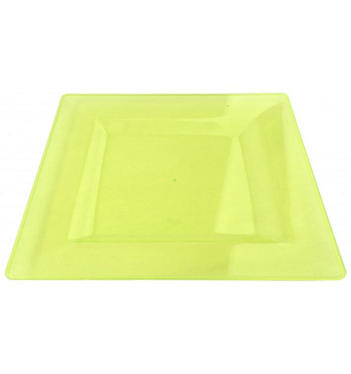 Piatto Plastica Rigida Quadrato Verde 20x20cm (4 Pezzi)