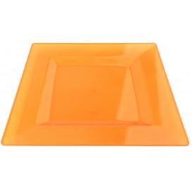 Piatto Plastica Rigida Quadrato Arancione 20x20cm (88 Pezzi)