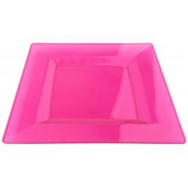 Piatto Plastica Rigida Quadrato Lampone 20x20cm (4 Pezzi)