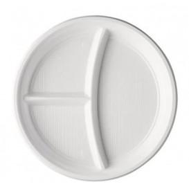 Piatto di Plastica PS 3 Scomparti Bianco 220mm (100 Pezzi)