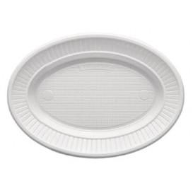 Piatto di Plastica PS Ovale Piano Bianco (1000 Pezzi)