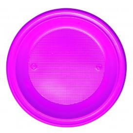 Piatto di Plastica Fondo PS Fucsia Ø220mm (30 Pezzi)