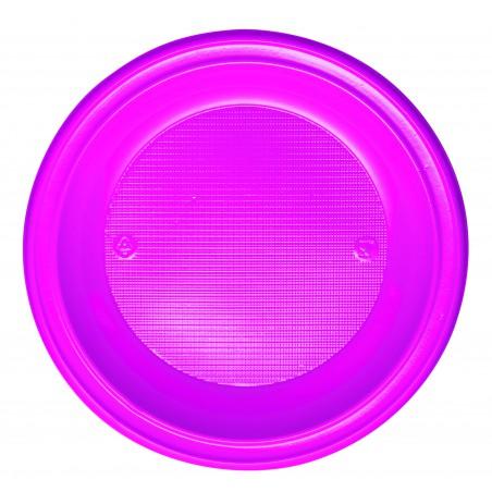 Piatto di Plastica PS Fondo Fucsia Ø220mm (30 Pezzi)