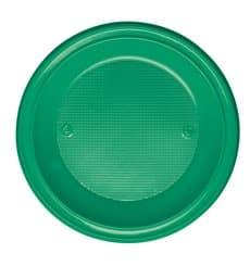 Piatto di Plastica PS Fondo Verde Ø220mm (600 Pezzi)