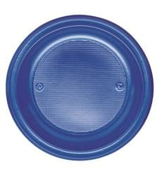 Piatto di Plastica PS Piano Blu Scuro Ø220mm (30 Pezzi)
