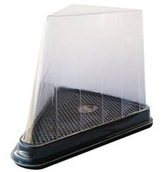 Scatola Plastica per Porzione Torte Trasp-Nero (50 Pezzi)