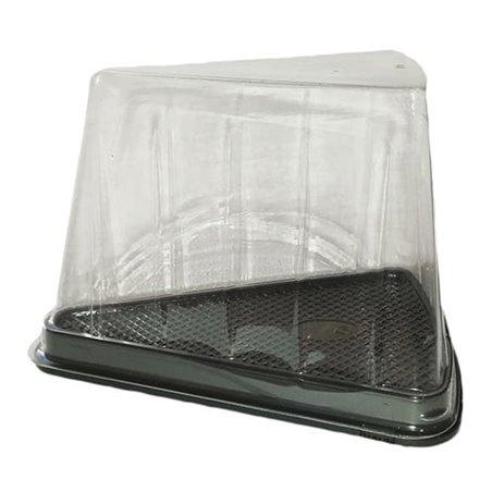 Scatola  Plastica per Porzione Torte Trasp-Nero (300 Pezzi)