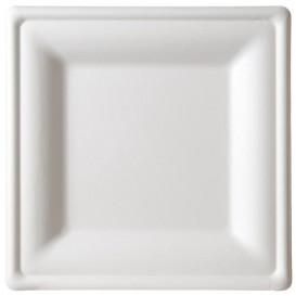 Piatto Quadrato Bianco Canna Zucchero 16x16cm (50 Pezzi)