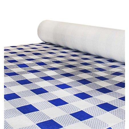 Tovaglia di Carta Rotolo Quadro Blu 1x100m. 40g (6 Pezzi)