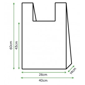 Sacchetto di Plastica Canottiera 40x60cm Bianca (200 Pezzi)
