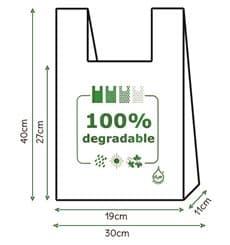Sacchetto di Plastica Canottiera 100% Degradabile 30x40cm (3000 Pezzi)