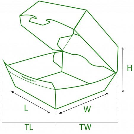 Scatola Hamburger XXL 14,5x14,5x8 cm (25 Pezzi)