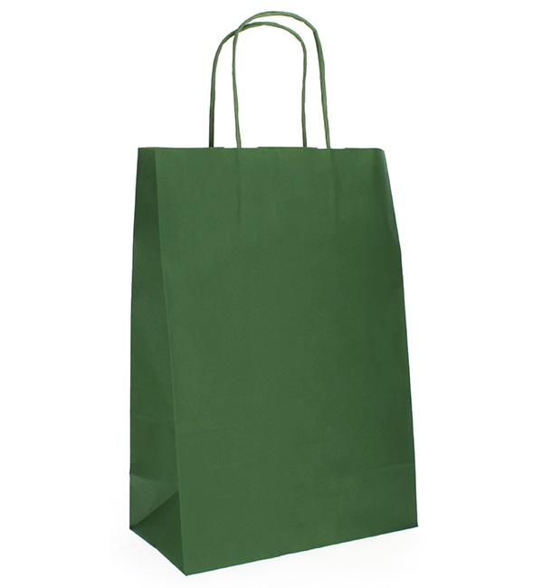 Buste Shopper in Carta Verde 80g 20+10x29 cm (50 Pezzi)