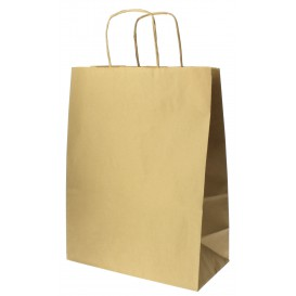 Buste Shopper in Carta Hawanna 100g 24+12x31 cm (250 Pezzi)